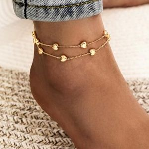🌻🆕List! Gold Heart Double Layer Anklet! NEW!